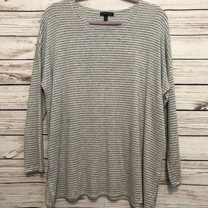 Eileen Fisher White Grey Stripe Long Sleeve Large